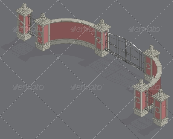 GraphicRiver Vector Isometric Gate Portal 6583006