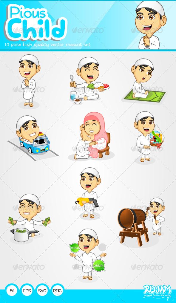 GraphicRiver Pious Child Mascot Set 6583029