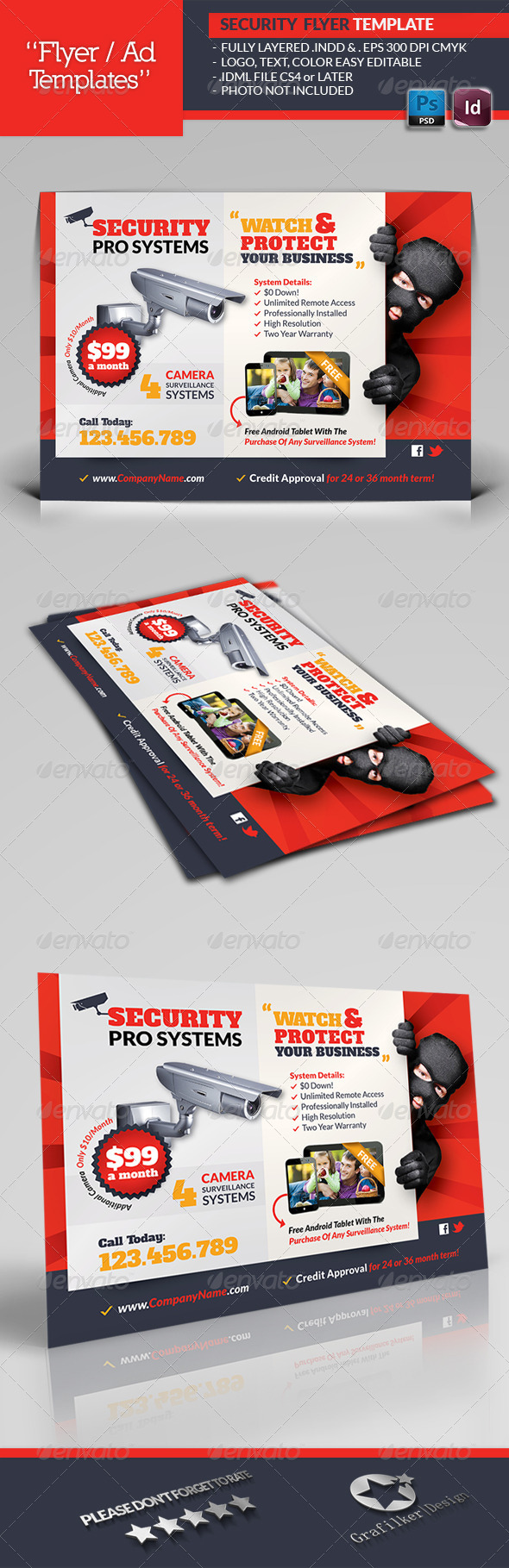 GraphicRiver Security Systems Flyer Template 6583046