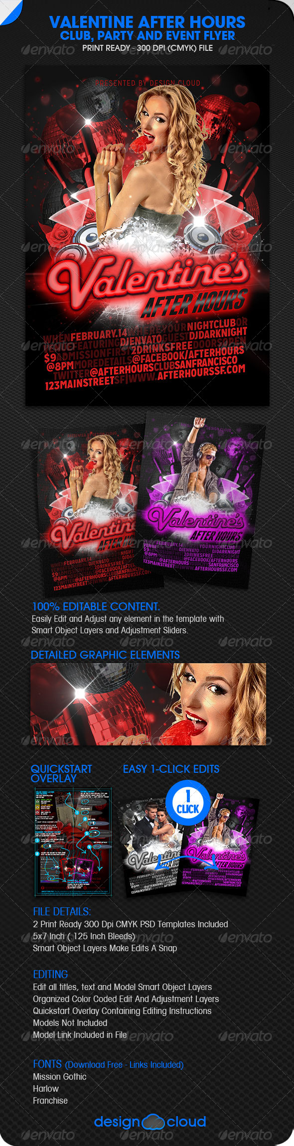 GraphicRiver Valentine After Hours Club Party and Event Flyer 6583059