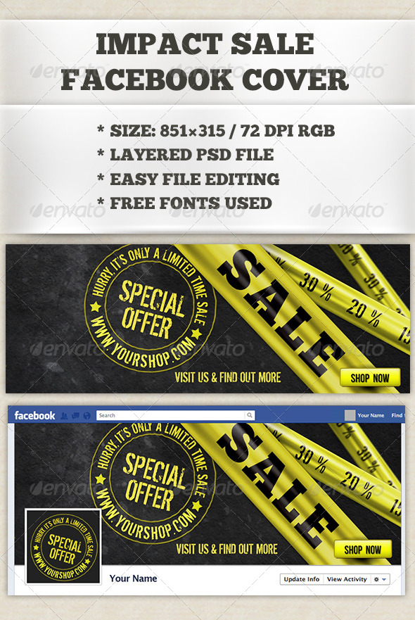 GraphicRiver Impact Sale Facebook Timeline Cover 6583173