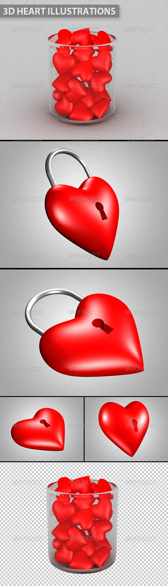 3D Valentine Heart Illustrations