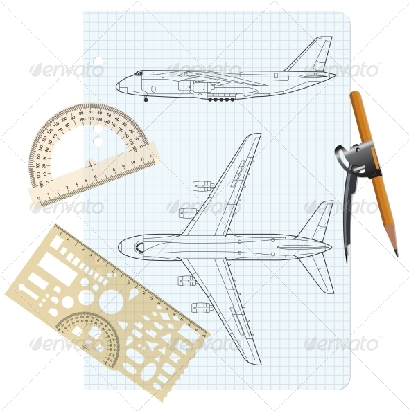 GraphicRiver Exercise Book with a Drawing for a Model Airplane 6583223