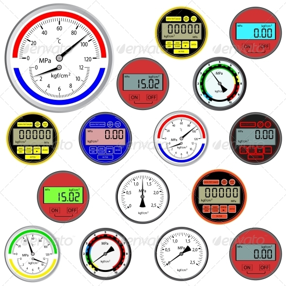 GraphicRiver Set of Switches and Digital Manometers 6583306