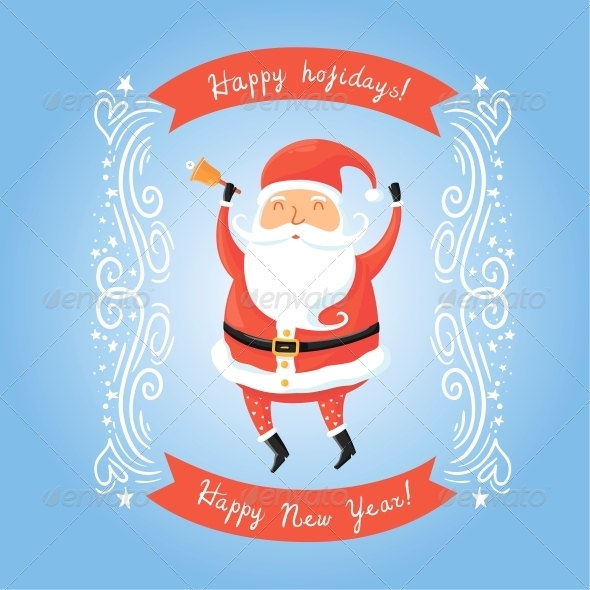 GraphicRiver Vector Santa Claus with bell 6583620