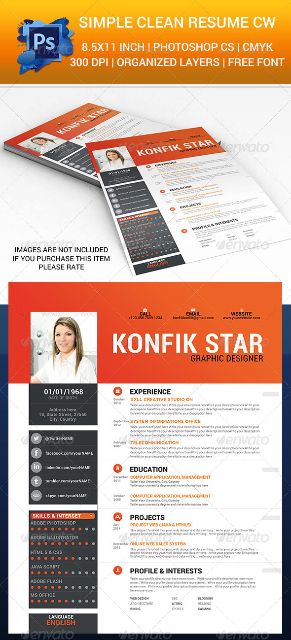 GraphicRiver Simple Clean Resume cw 6583695