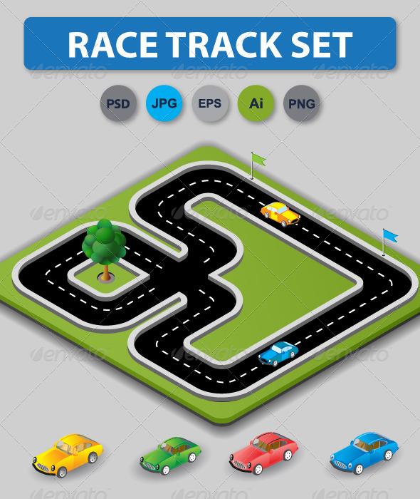 GraphicRiver Race Treck Set 6583768