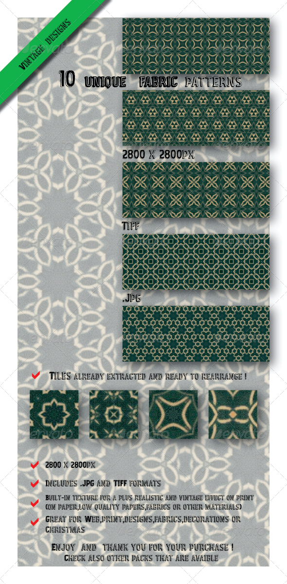 GraphicRiver 10 Great Designs Paper Fabrics Patterns 6547636