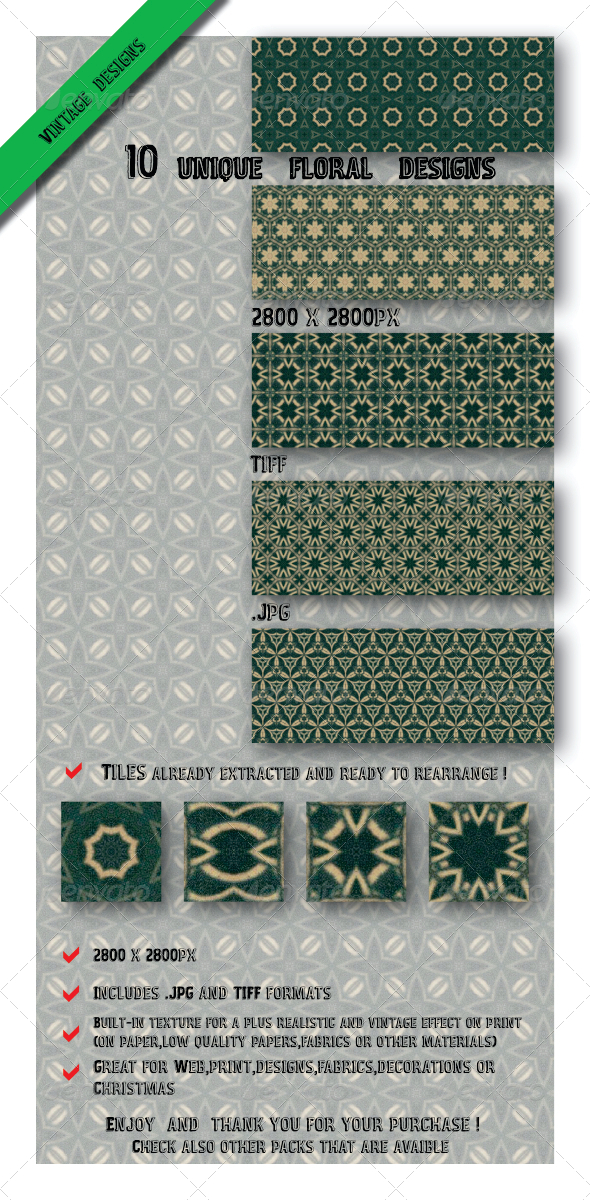GraphicRiver 10 Exclusive Green Tile Floral Designs 6583927