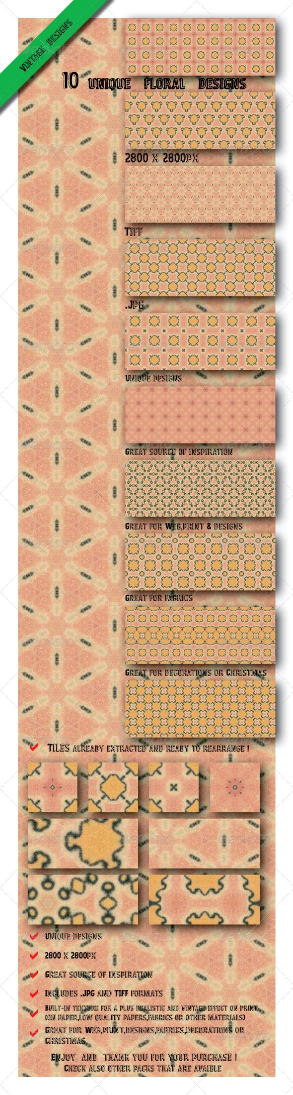 10 Vintage Floral Design Tile Paper Pack