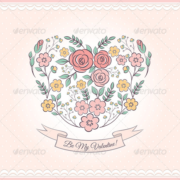 GraphicRiver Floral Graphic With Heart 6584015