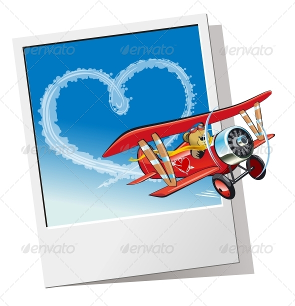 GraphicRiver Valentines Card with Cartoon Airplane 6584173