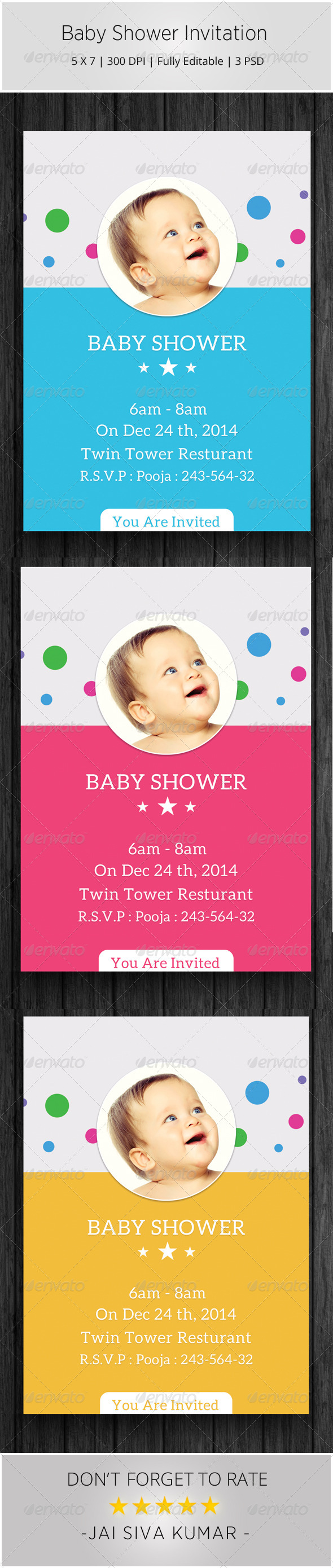 GraphicRiver Baby Shower Invitation Templates 6584435