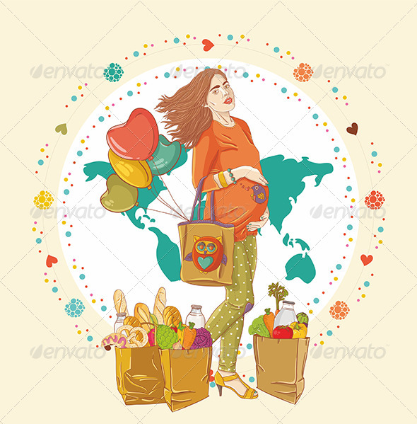 GraphicRiver Pregnant Woman Shopping 6584777