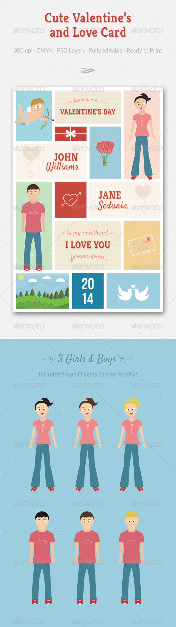 GraphicRiver Cute Valentine s and Love Card 6584932
