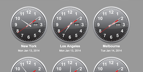 CodeCanyon jQuery Time Zone World Clocks 6584939