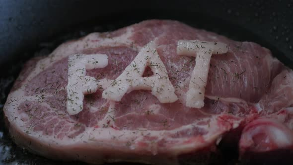 VideoHive Frying steak in a frying pan with FAT word 18706301