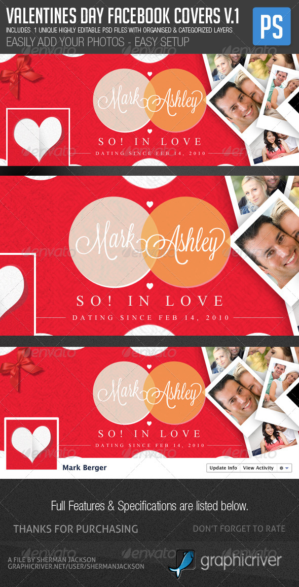 GraphicRiver Valentines Day Facebook Cover Template 6585735