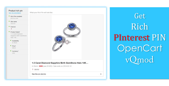 CodeCanyon PInterest Rich Pin Marker OpenCart vQmod 6538724