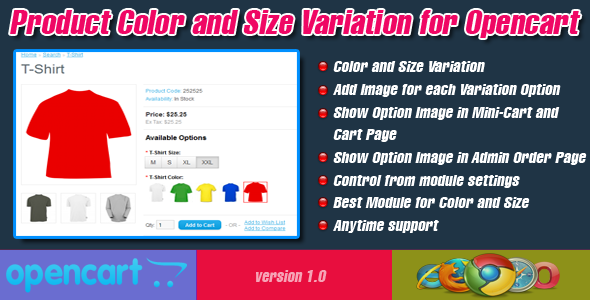 Product Color and Size Variation for Opencart
