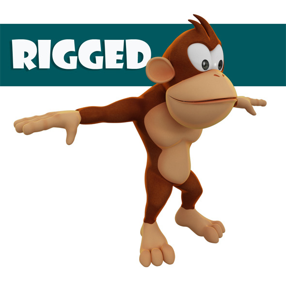 Rigged Monkey Model - 3DOcean Item for Sale