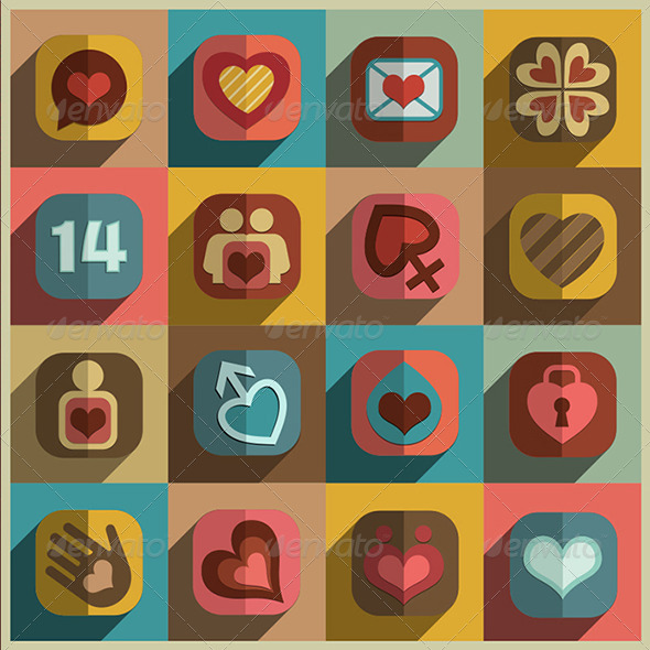 Flat Heart Decorative Icons Set