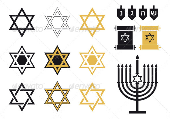 GraphicRiver Jewish Stars Religious Icon Set Vector 6586663