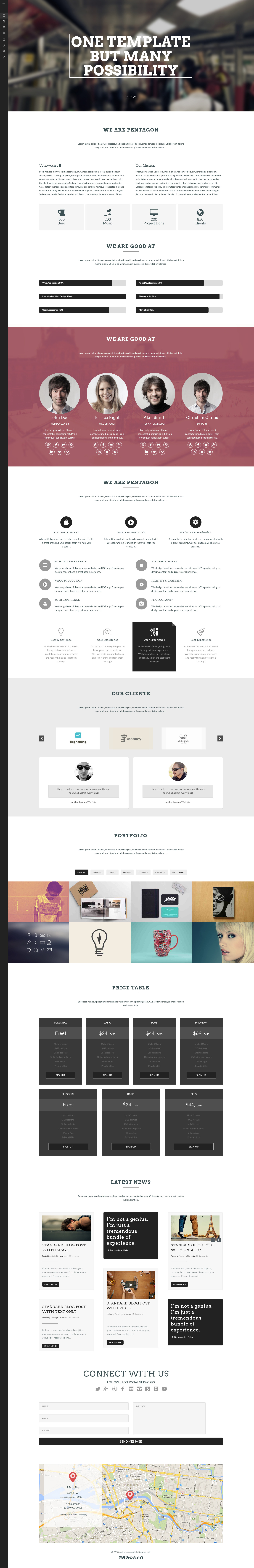 Pentagon - One Page Creative PSD Template