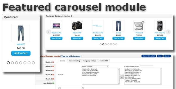Featured carousel module for OpenCart