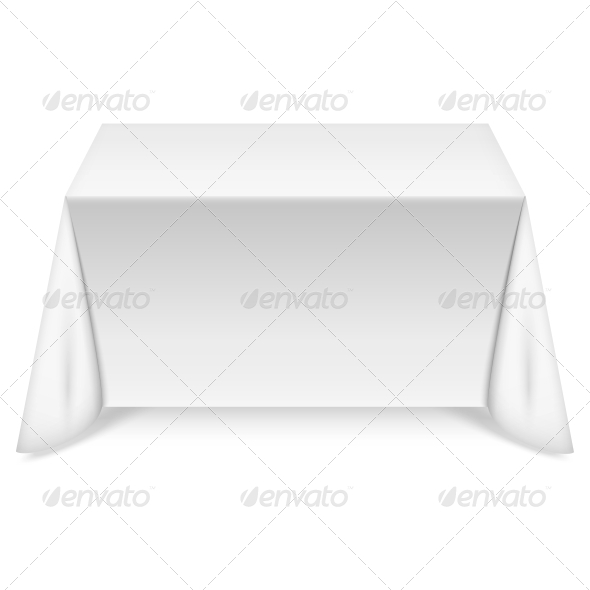 GraphicRiver Rectangular Table with White Tablecloth 6587008