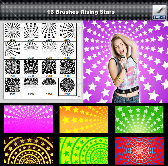 GraphicRiver 16 Brushes Rising Stars 6587027
