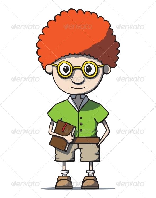 GraphicRiver Cartoon Redhead Nerd Genius in Glasses 6587113