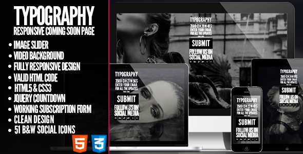 ThemeForest TYPOGRAPHY Responsive Coming Soon Template 6547838