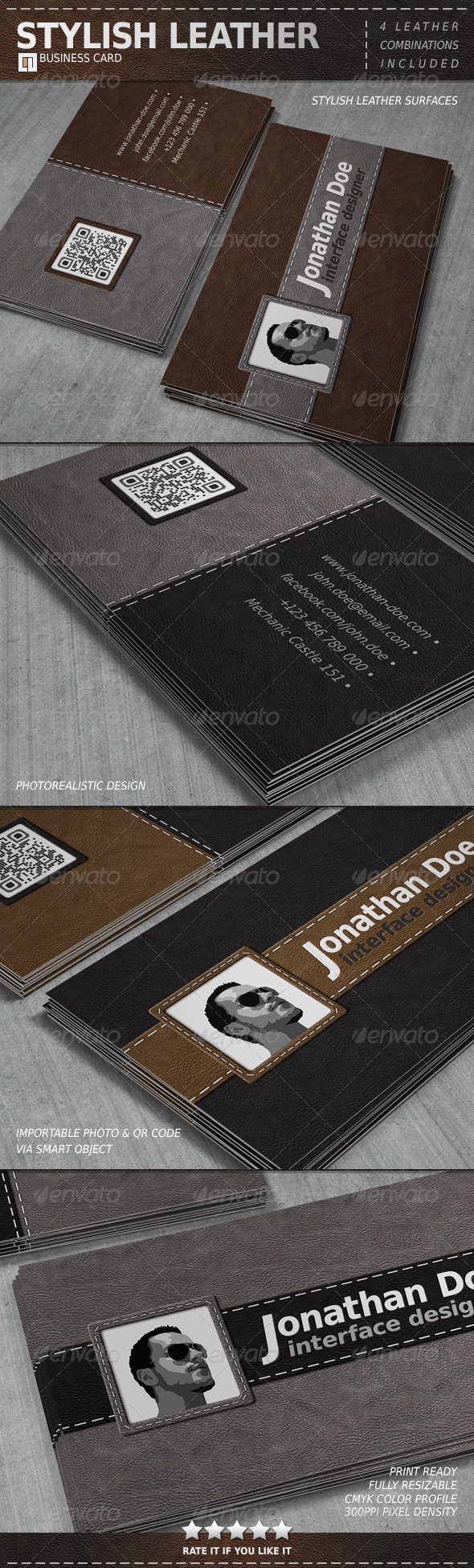GraphicRiver Stylish Leather Business Card 6564745