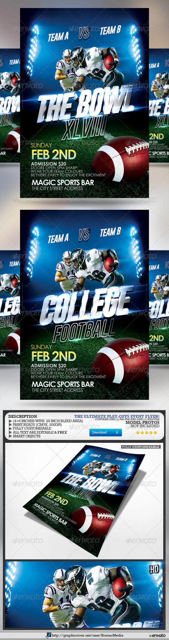 GraphicRiver The Bowl and College Football Flyer 6577570