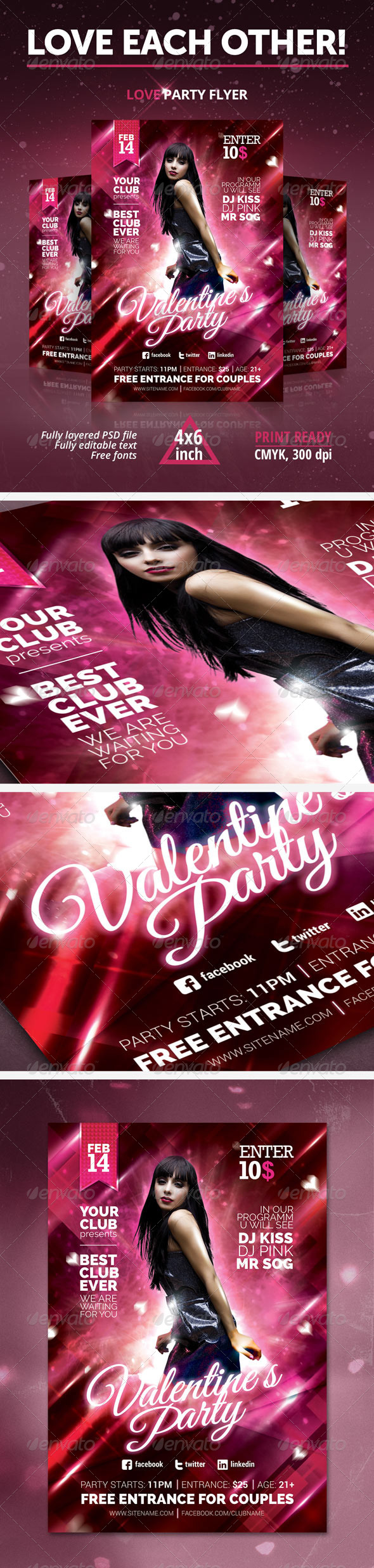 GraphicRiver Valentine`s Day Love Party Flyer 6588731