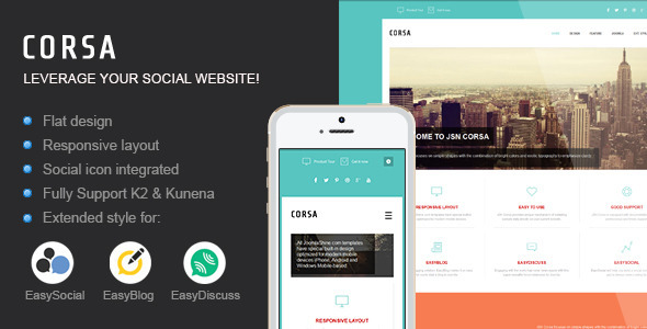 ThemeForest JSN Corsa Leverage your social website 6588801