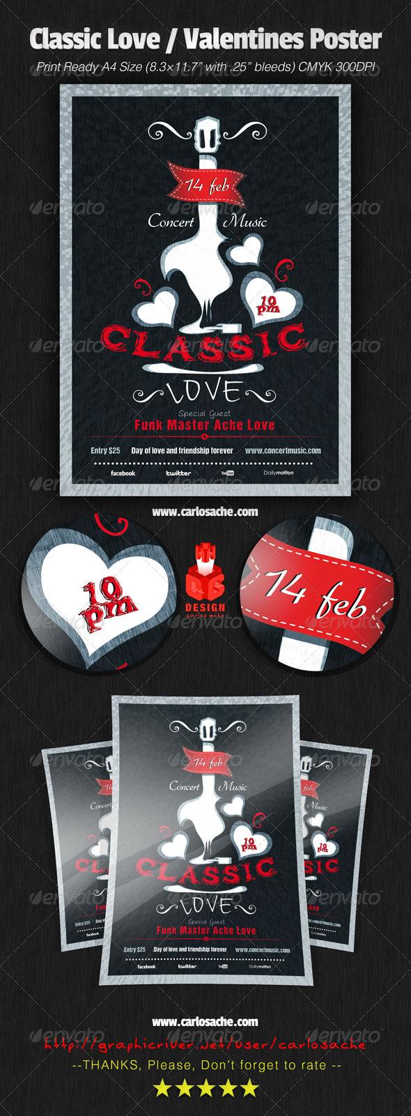 GraphicRiver Classic Love Valentines Poster 6588898