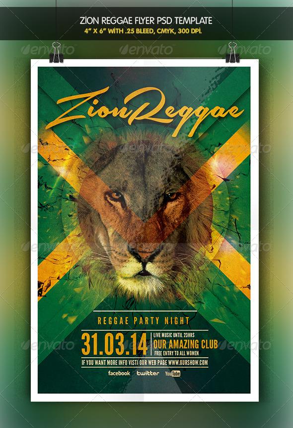 GraphicRiver Zion Reggae Reggae Party Flyer 6588931