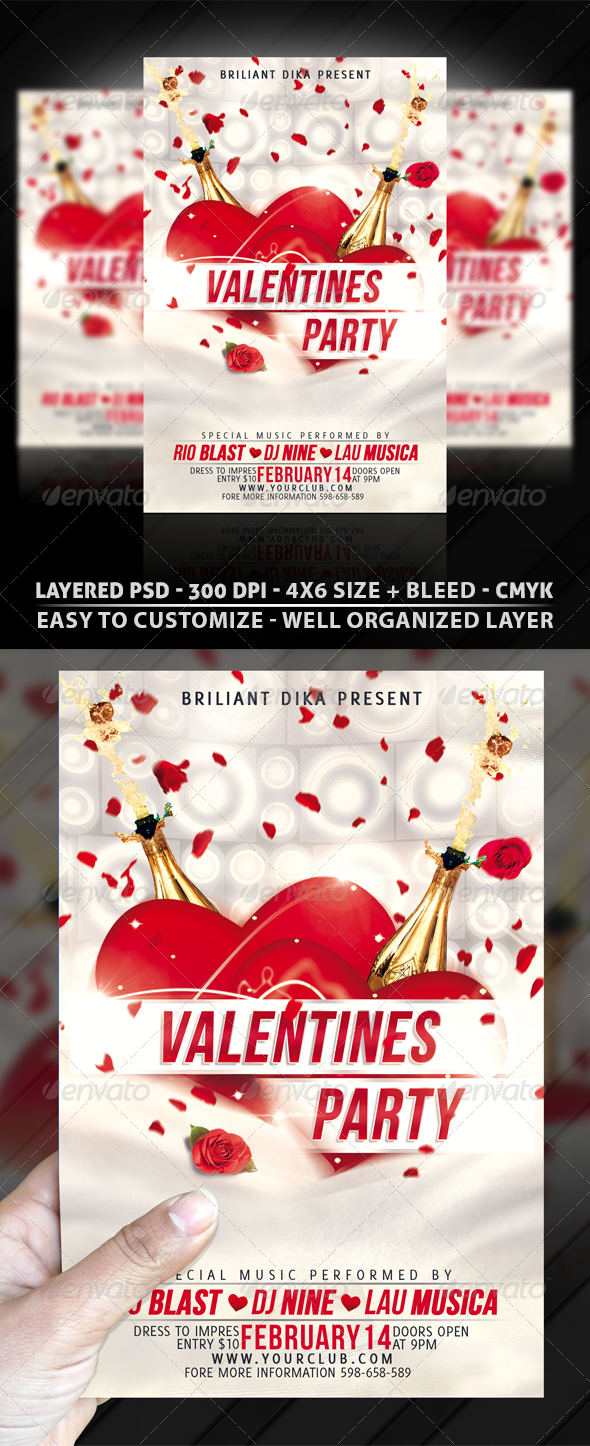 Minimal Valentines Party Flyer Template
