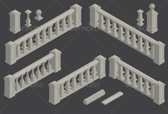 GraphicRiver Set of Architectural Element Balustrade 6589896