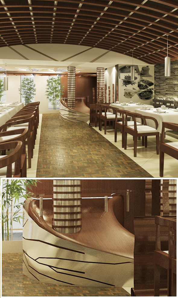 Restaurant 3d interior design - 3DOcean Item for Sale