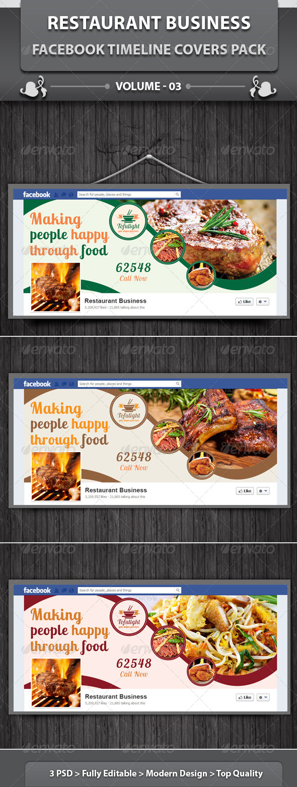 GraphicRiver Restaurant Business FB Covers Pack Volume 3 6589021