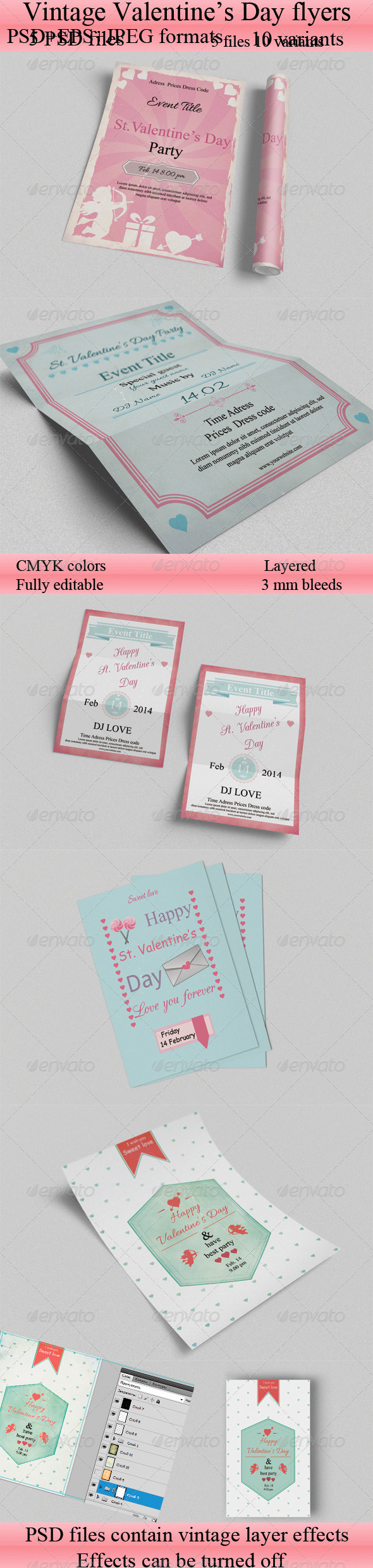 GraphicRiver Valentines Day Flyers Set 6591648
