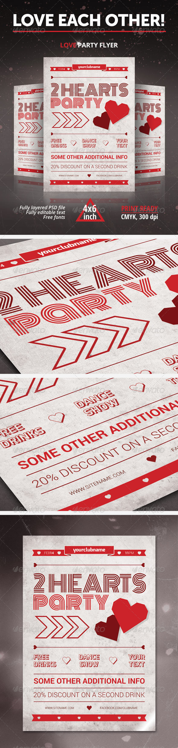 GraphicRiver Two Hearts Party Flyer 6591723