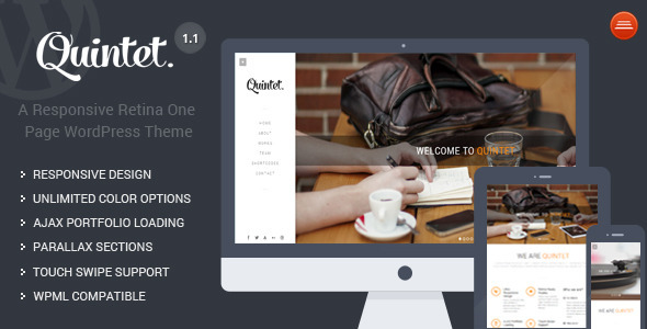 Quintet - Responsive One Page Parallax Theme - Creative WordPress