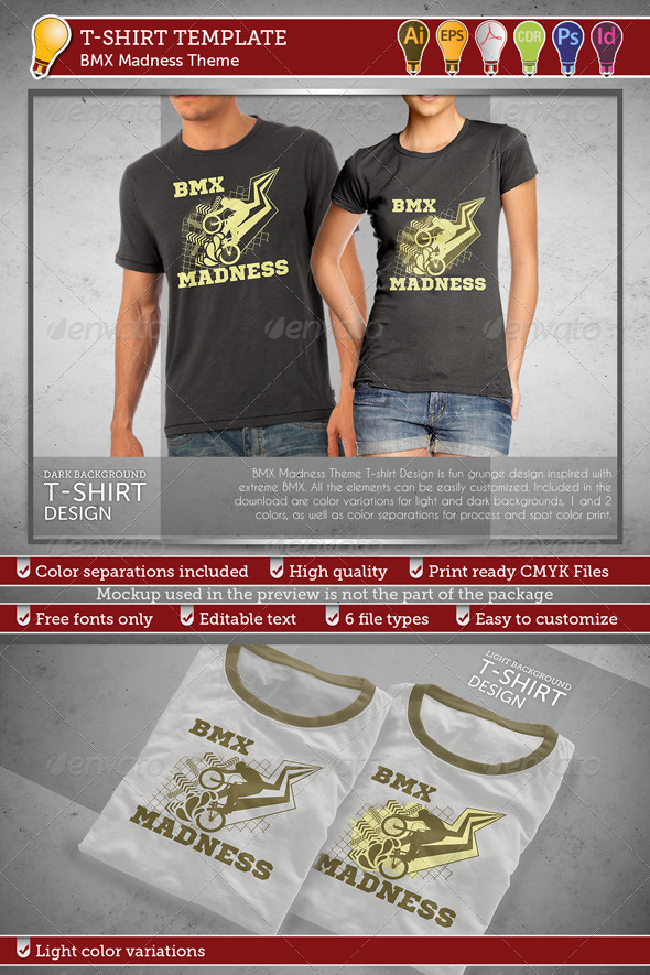 BMX Madness Theme T-shirt Design - Sports & Teams T-Shirts
