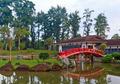 View of a Japanese styled building with a red bridge near a pond. - PhotoDune Item for Sale