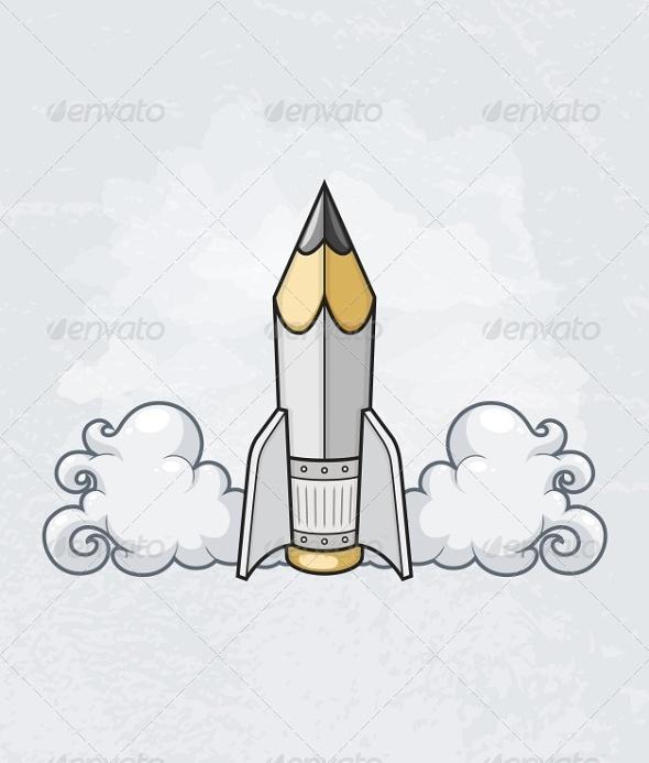 GraphicRiver Pencil Tool as Rocket 6591887