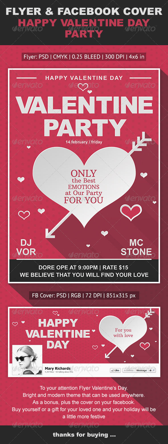 GraphicRiver Happy Valentine Day Flyer & Facebook Cover 6583944